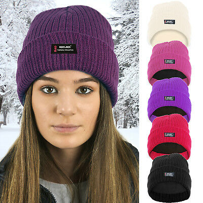 Ladies Womens Beanie Hat Warm Fleece Lined R40 Thermal Insulation