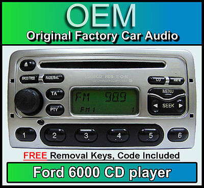 Ford Puma CD player, Silver Ford 6000 car stereo + radio removal keys and code
