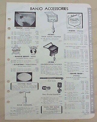rare 1953 BANJO ACCESSORIES + BANJO STRINGS jobber catalog page tailpieces,heads