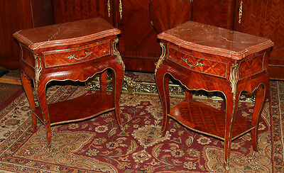 Best Pair French Louis XV Rosewood Marquetry Inlaid Night Stands Tables 1890