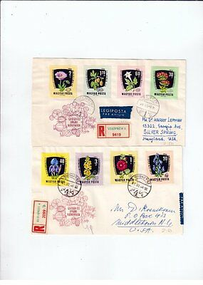 Set of two Hungary 1961 FLOWER registered fdc
