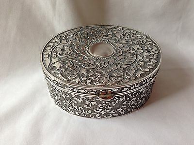 Large Silver Plated Trinkietjewellery Box Antique Finish
