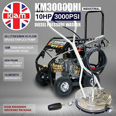 Kiam KM3000DHI Diesel Washer Pressure Cleaner Driveway Pack Patio Block Paving
