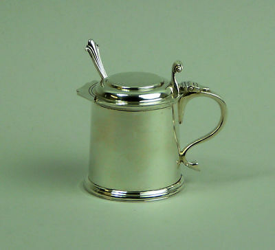 A Fine George V Silver Tankard Form Mustard Pot & Spoon 100 Grams