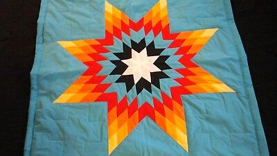 Beautiful authentic Native American Lakota baby star quilt Blue