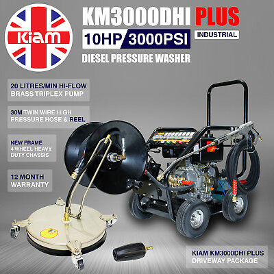 Kiam KM3000DHI PLUS Diesel Washer Driveway Pack Block Paving c/w 30m Hose Reel