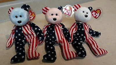 Spangle Beanie Babies Set of 3 RARE