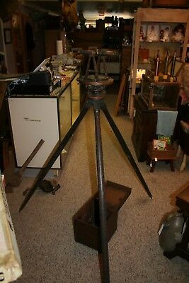 1863-1888 Brass Wm E Stieren Transit w/Tripod and Wooden Box