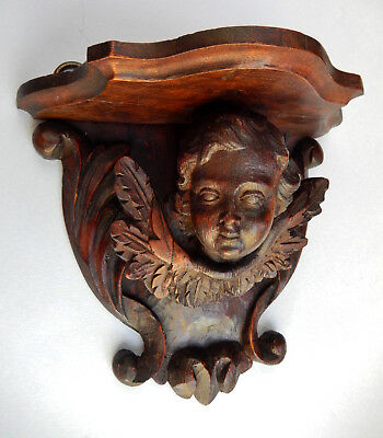 Antique Gothic Carved WOOD Console Shelf BRACKET Female ANGEL (Left) 2 of 2  N/R