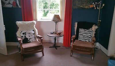 2 vintage chairs mid 20th century modern brown velvet armchairs lounger cocktail