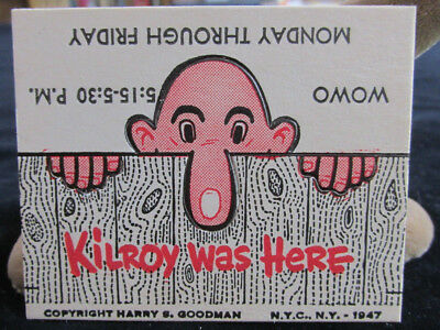 1947 WOWO Radio 1190 Fort Wayne Indiana Kilroy Was Here Show Advertising Card