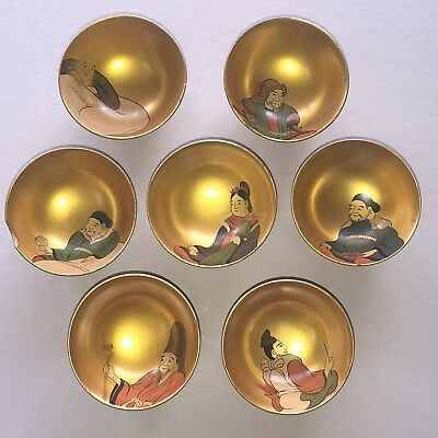 7 Lucky gods of Japan Sakazuki Cups Sake Red Lacquer Wood Hand Painted vintage