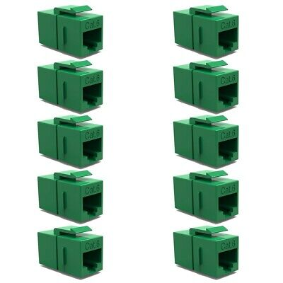 10x Cat6 RJ-45 F//F Ethernet Coupler Joiner Snap-In Jack For Keystone Wall Plate