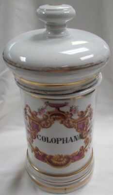 Vintage French Porcelain Apothecary Jar- COLOPHANA- ROSIN- Poison Chalice Cup