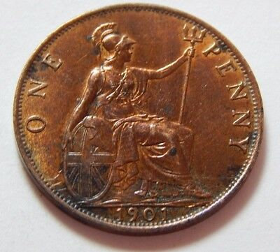 Great Britain UK Penny, 1901 - Queen Victoria Old Head - Last Year  AU Details