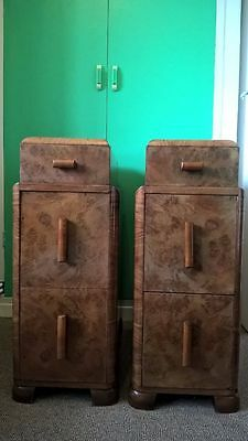 Pair of Art Deco bedside tables 1920s 1930s walnut
