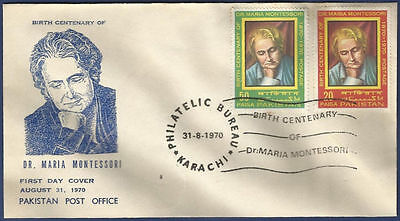 Pakistan Mnh 1970 Fdc First Day Cover Birth Centenary Of Dr Maria Montessori