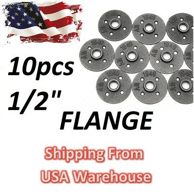 """10PCS 1/2"""" floor FLANGE black malleable iron steal fittings pipe lot set DIY USA"""