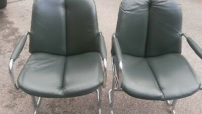 Four pieff leather chairs