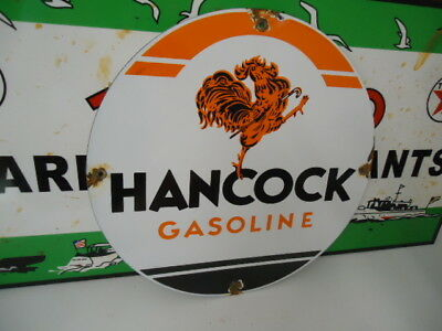 Old Used Hancock Gasoline  Porcelain Gas Pump Sign  (No Reserve)
