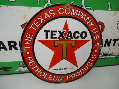 Old Used  1933 Texaco Gasoline  Porcelain Gas Pump Sign  (No Reserve)