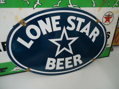 Vintage Lone Star Beer The National Beer Of Texas  Porcelain Advertising Sign