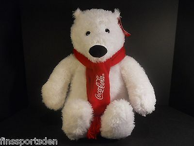 2012 COCA COLA Advertising Stuffed Plush Polar Bear Toy ~ Scarf ~ Tag Attached