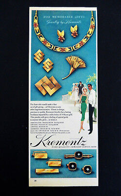 Vintage 1957 Krementz jewelry retro newspaper advertisement print ad art