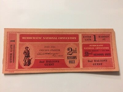 1944 Democratic National Convention FULL Ticket President Franklin Roosevelt FDR
