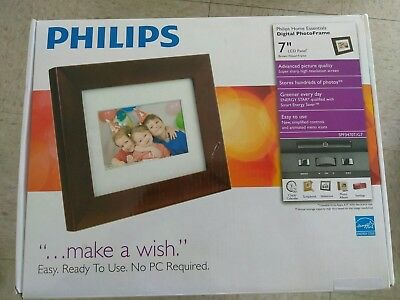 """New Philips Home Essentials 7"""" Digital PhotoFrame photo brown frame picture LCD"""