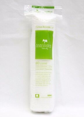 """INTRINSICS Cosmetic Cotton Rounds 2"""" Cleansing Pads Remove Polish Makeup 80ct"""