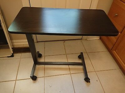 Drive Medical Bedside Table Rolling Adult Desk Hospital Bed Tray    NO SHIPPING