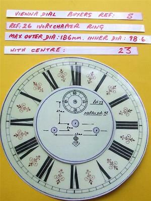 Buyers Ref:S,  Replacement laminate Ivory  Vienna Regulator Clock Dial option 17