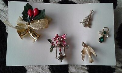 Lot of 5 Holiday Pins Brooch Avon  Christmas vintage