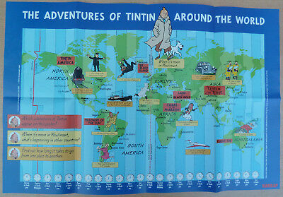 TINTIN Hergé Affiche Poster Harrap TBE 2000 AROUND THE WORLD