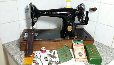 Vintage HandCrank Singer Sewing Machine Model 201K, beautiful, Recently serviced