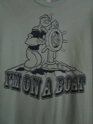 """Popeye light blue t-shirt, size M., by """"Tultex"""" I'm on a boat"""