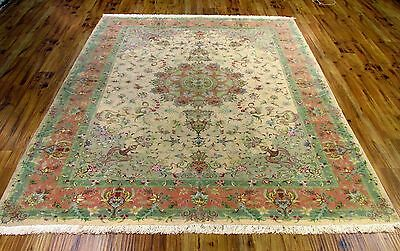 8 x 11 Genuin Tabriz Silk and Wool Persian rug Silk Foundation