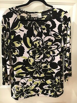Chico's Travelers Women's sz 2 Top Blouse Black White Floral 3/4 Sleeve