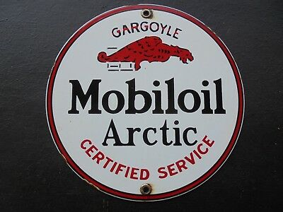 Vintage Mobiloil Artic Gargoyle porcelain gas pump sign garage 11-39 Standard