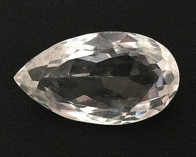 40.90 Ct Natural Crystal Quartz Pear Cut White Colorless Loose Gemstone 17.50X30