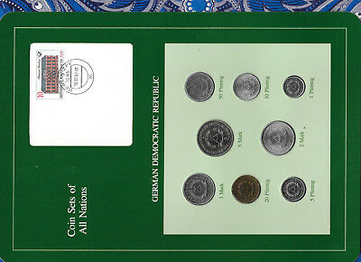 Coin sets of all nations East Germany w/card 1979-1987 UNC 50pf & 1 Mark 1987