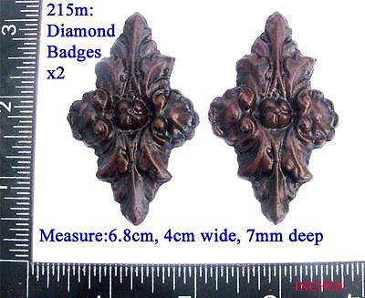 215m Pair of Diamond shape Badges for Vienna regulator clock cases,  DIY,