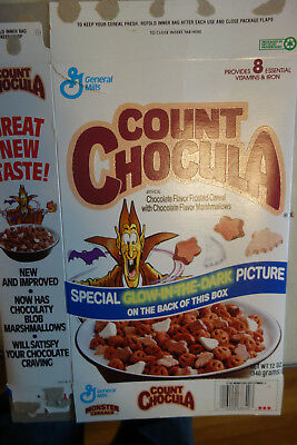 General Mills Monster Cereal Box Count Chocula Glow in the Dark Back