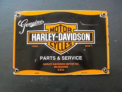 Vintage Harley Davidson Motorcycles Parts porcelain sign Milwaukee Wisc scooter