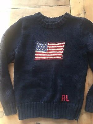 Polo by Ralph Lauren Children's Kid's Size 7 Navy Blue Sweater American Flag RL
