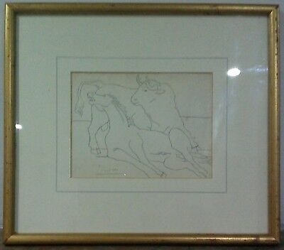 Picasso - Horse and Bull - framed drawing