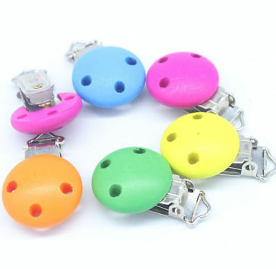 3pc Mixed Colors Baby Pacifier Clips Pattern Printed Round Wood Metal Holders