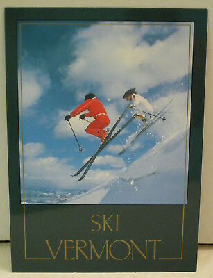 Snow Two Skiers With Poles Go Fast in Snow Vermont Postcard