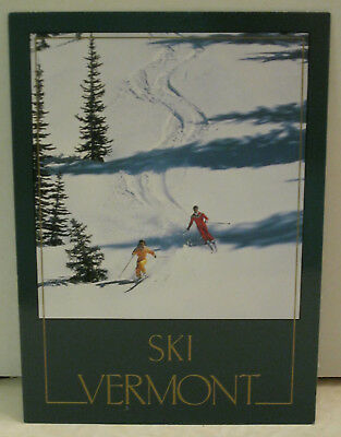 Snow Two Skiers With Trail Down Mountain in Snow Vermont Postcard